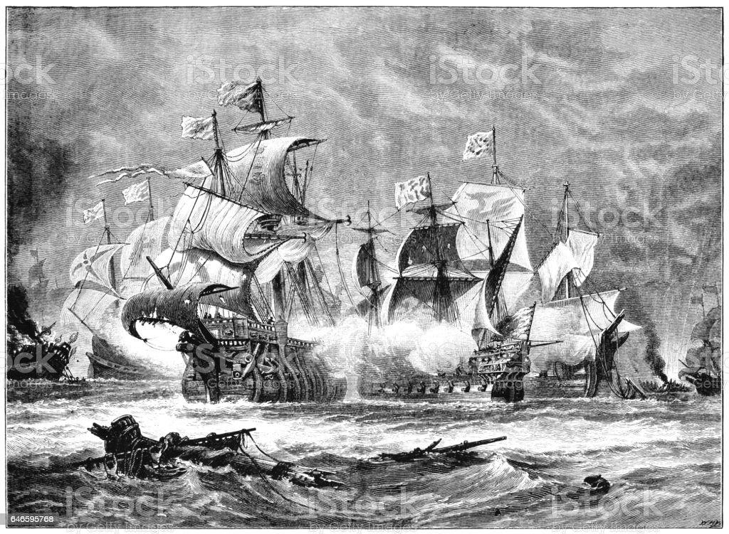 The Spanish Armada vector art illustration