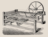 The spinning jenny is a multi-spindle spinning frame, and was one of the key developments in the industrialization of weaving during the early Industrial Revolution