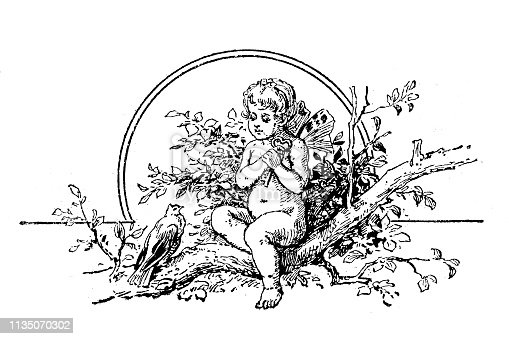 Illustration of the Spring ,angel ornament