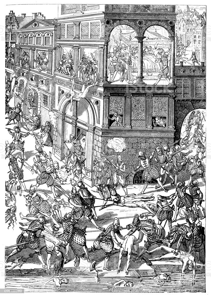 The St. Bartholomew's Day massacre in 1572 was a targeted group of assassinations and a wave of Catholic mob violence, directed against the Huguenots (French Calvinist Protestants) during the French Wars of Religion vector art illustration