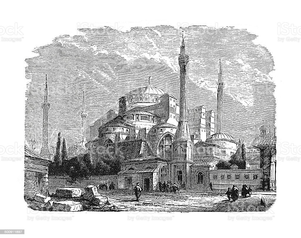 The St. Sophia Mosque at Constantinople (antique engraving) vector art illustration