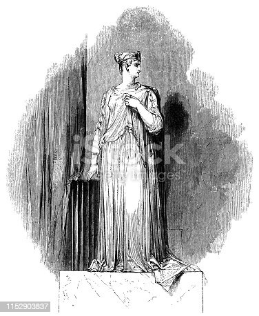 The statue of Queen Hermione in The Winter's Tale from the Works of William Shakespeare. Vintage etching circa mid 19th century.