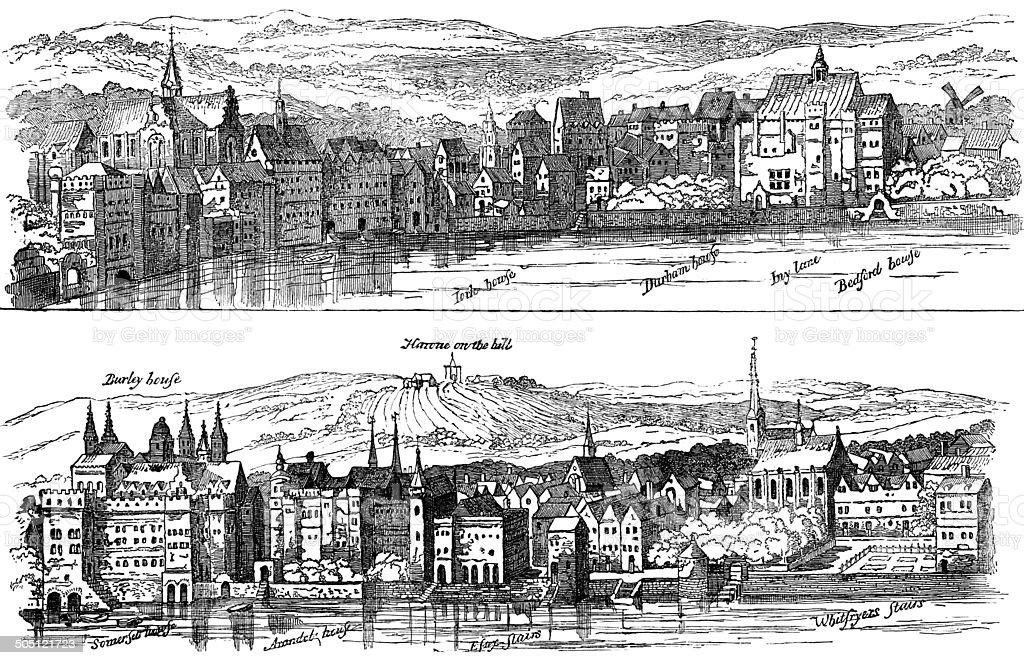 The Strand from the Thames, Sixteenth Century, London (Illustration) vector art illustration