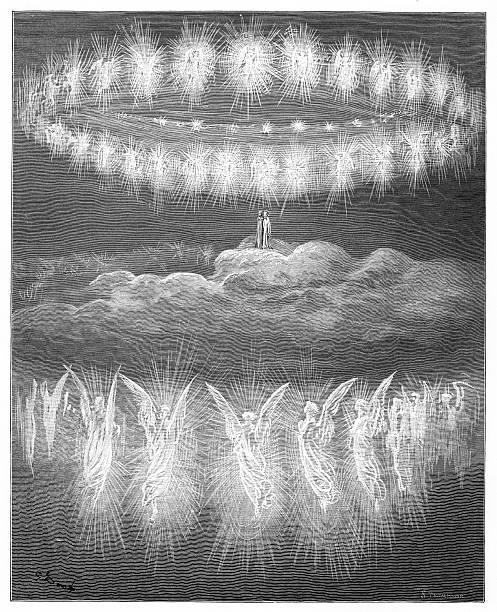 illustrazioni stock, clip art, cartoni animati e icone di tendenza di the sun and glorified souls 1870 - dante alighieri