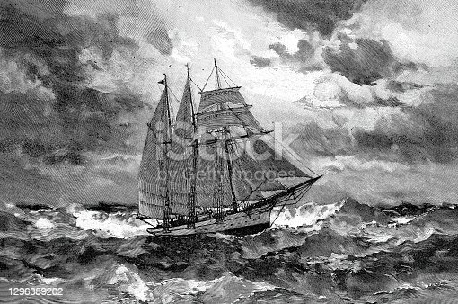 istock The sunbeam sailing ship in heavy waves 1296389202