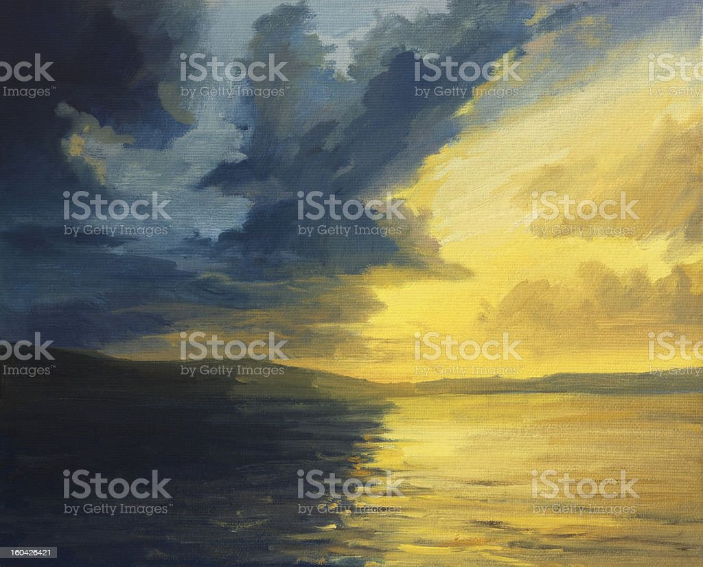 The Sunset of Light and Shadows vector art illustration