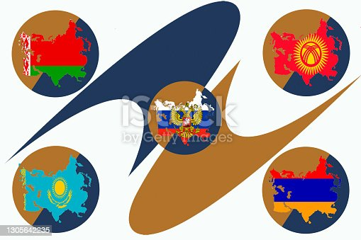 istock The symbol of the Eurasian Economic Union on a white background. Flags of the EAEU countries in the corners 1305642235