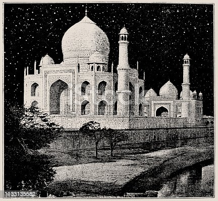 Illustration of a The Taj Mahal is an ivory-white marble mausoleum on the south bank of the Yamuna river in the Indian city of Agra
