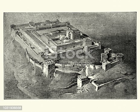 Vintage engraving of The temple in Jerusalem from the time of Solomon