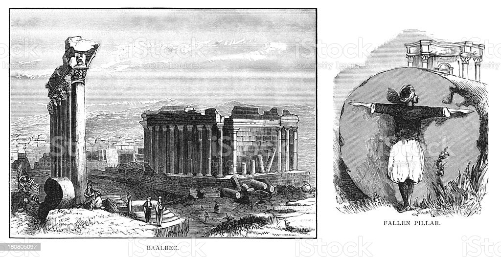 The temple of Jupiter in Baalbek in Lebanon royalty-free the temple of jupiter in baalbek in lebanon stock vector art & more images of 1880-1889