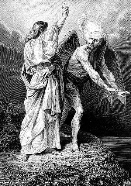 The Temptation of Christ vector art illustration