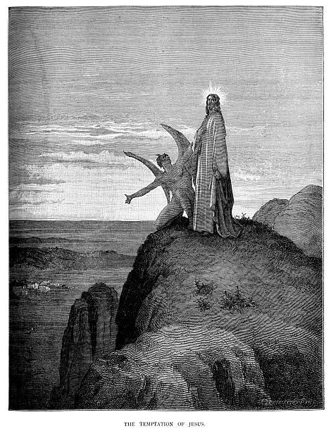 The Temptation of Jesus vector art illustration