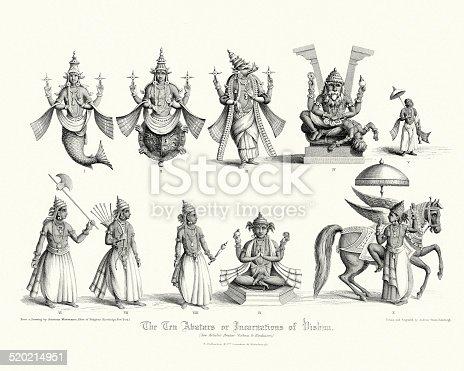 The Ten Avatars or Incarnations of Vishnu. 1. Matsya 2. Kurma 3. Varaha 4. Narasimha 5. Vamana 6. Parashurama 7. Rama 8. Krishna 9. Buddha 10. Kalki. Print from The Faiths of the World, a Dictionary of All Religions and Religious Sects Their Doctrines, Rites, Ceremonies and Customs. 1860