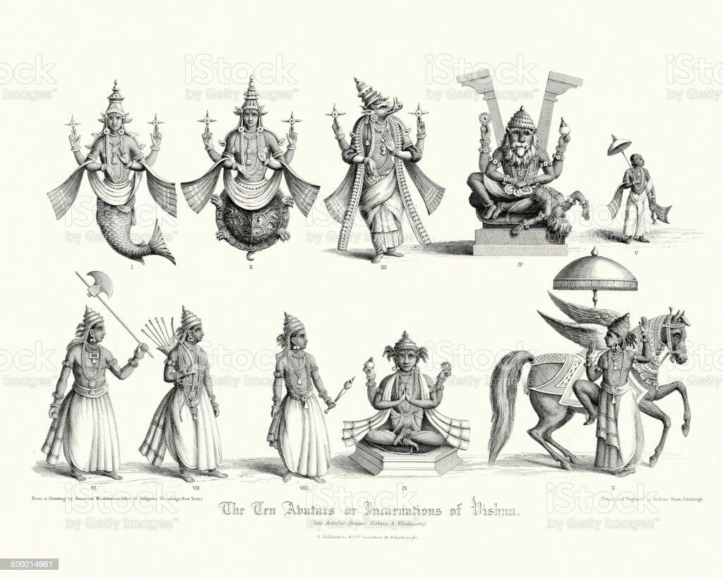 The Ten Avatars or Incarnations of Vishnu vector art illustration
