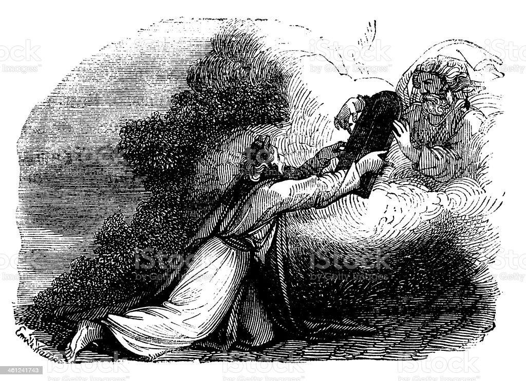 The Ten Commandments Antique Engraved Image vector art illustration