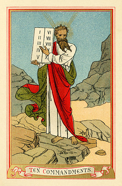 """The Ten Commandments (Victorian religious book plate) Moses and the Ten Commandments. From """"The Church Catechism with Notes - Illustrated"""", with notes, by E.M.; published by the Society for Promoting Christian Knowledge, London, in 1891. Described as """"A Catechism That Is To Say An Instruction To Be Learned Of Every Person, Before He Be Brought To Be Confirmed By The Bishop."""" moses religious figure stock illustrations"""