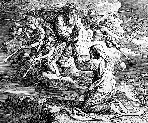 The Ten Commandments Schnorr von Carolsfeld (1860) Digital restoration: gldburger moses religious figure stock illustrations