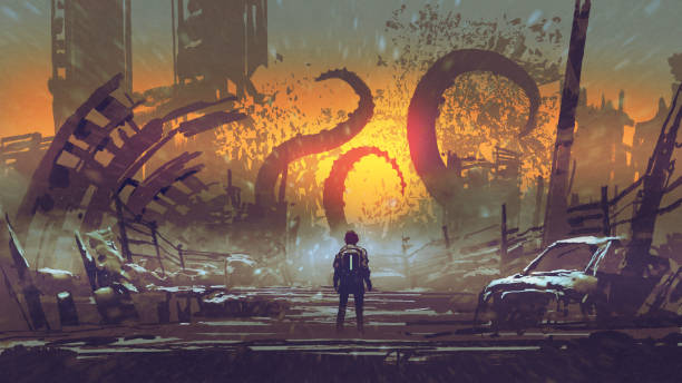 the tentacle monster destroys the city vector art illustration