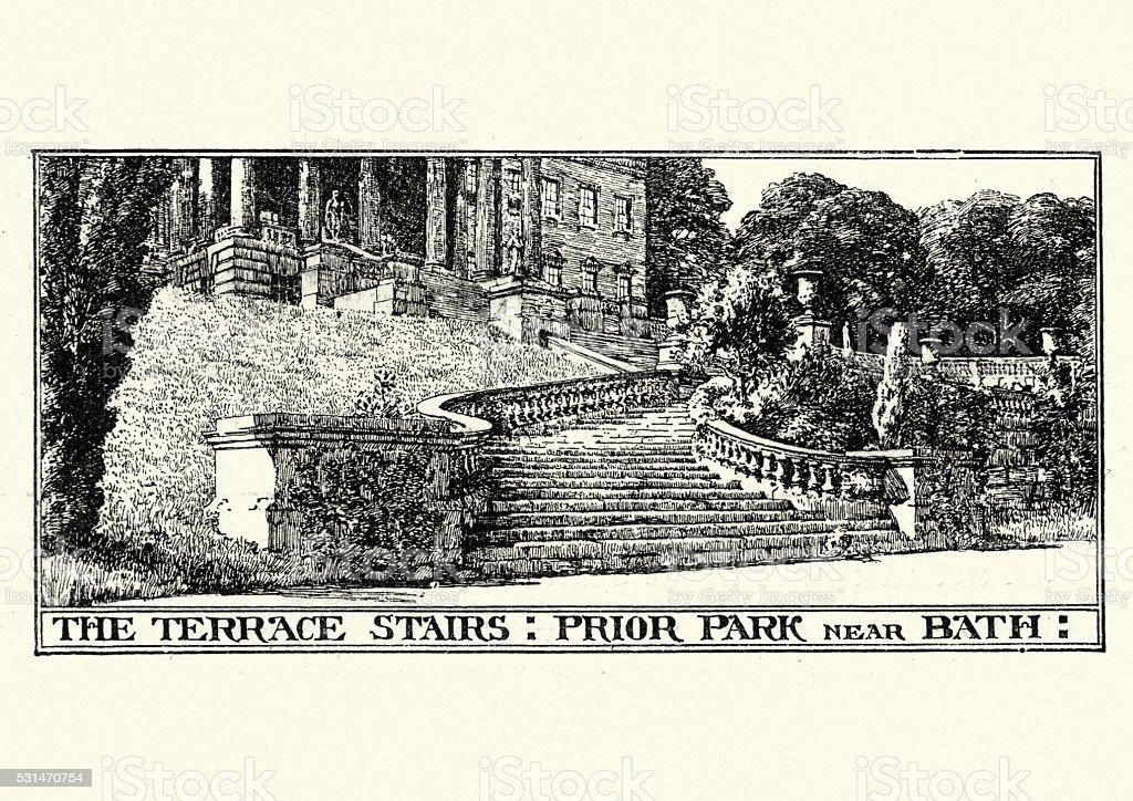 Ilustración De Escaleras En La Terraza Antes Parque Del