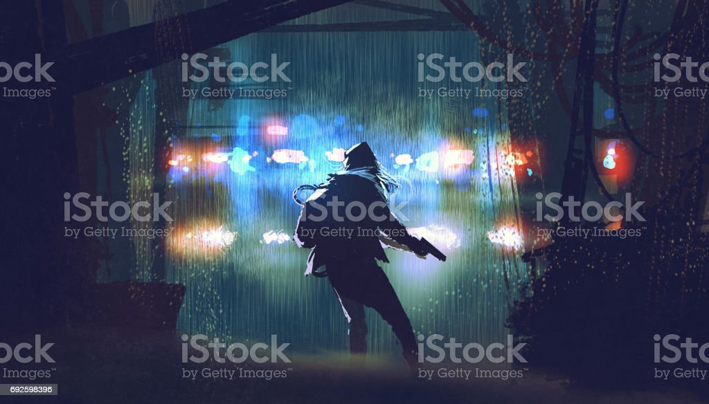 the thief with the gun being caught by police vector art illustration