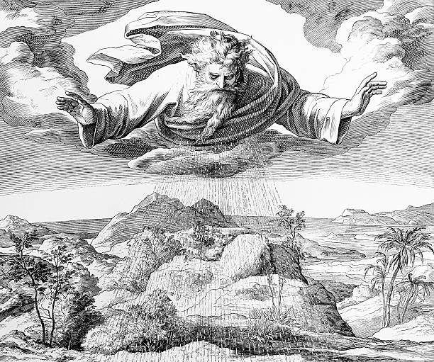 The third day of creation Engraving by the German painter Julius Schnorr von Carolsfeld (March 26, 1794 - May 24, 1872) 1880 stock illustrations