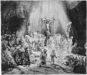 'The Nativity by Rembrandt.Engraved and published (1845) in the pictorial sunday book by William Clowes & Sons,Stanford street.London.Digital restoration by Pictore. (Sepia toned)Christmas background:'