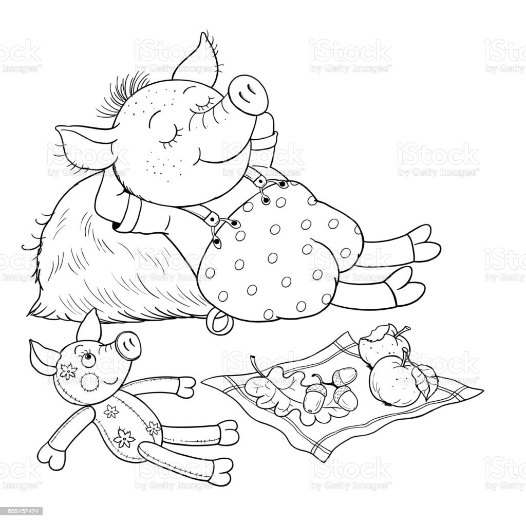 The three little pigs fairy tale coloring page cute and funny cartoon characters