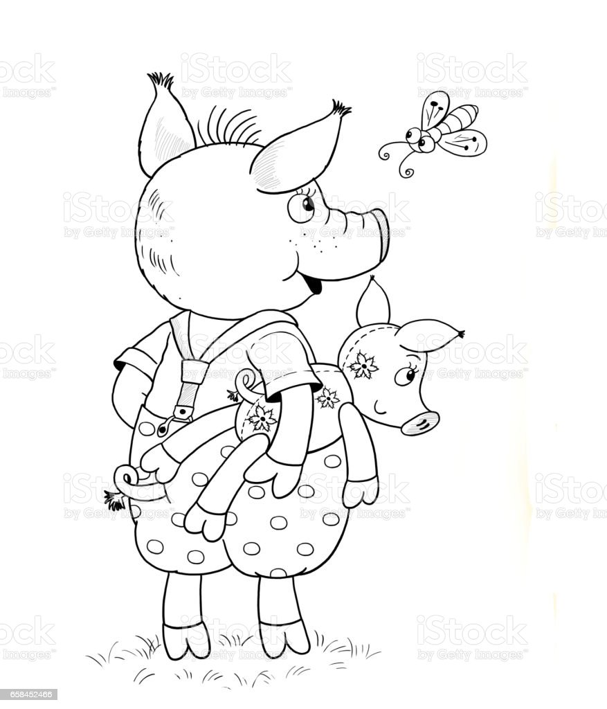 The three little pigs fairy tale coloring page cute and funny cartoon characters illustration