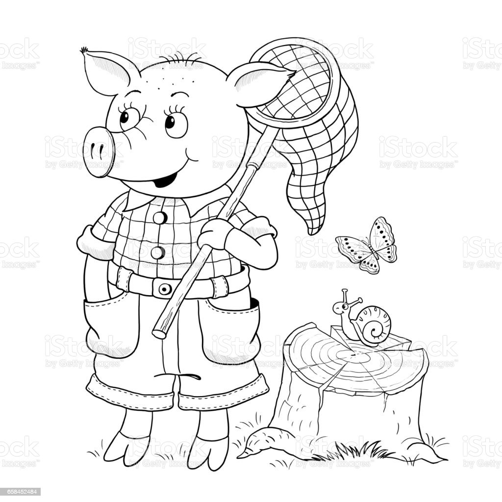 The Three Little Pigs Fairy Tale Coloring Page Cute And ...