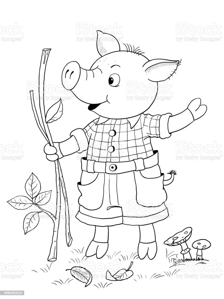 the three little pigs fairy tale coloring page cute and