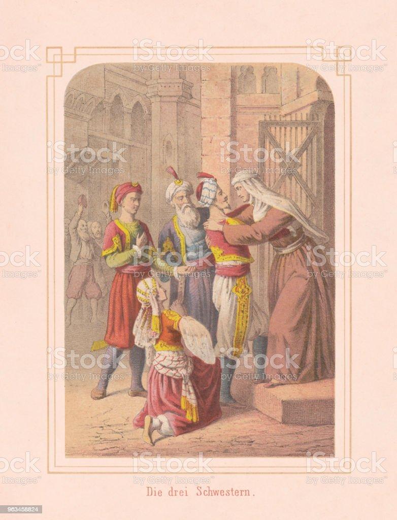 Las tres hermanas, cuento de mil y una noches, litografía, 1867 - Ilustración de stock de Adulto libre de derechos
