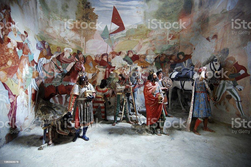 The three wise men (magi) in Bethlehem royalty-free stock vector art