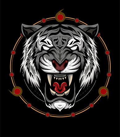 The Tiger head illustration with sacred symbol