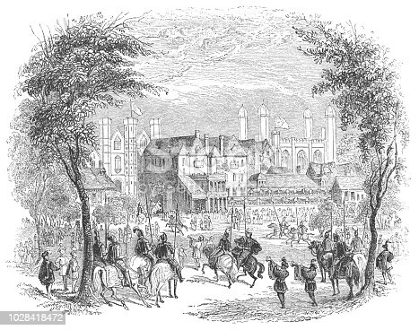 The Tiltyard at the Palace of Whitehall in Westminster, London, England from the Works of William Shakespeare. Vintage etching circa mid 19th century. The Tiltyard was a jousting courtyard common in the Tudor era.