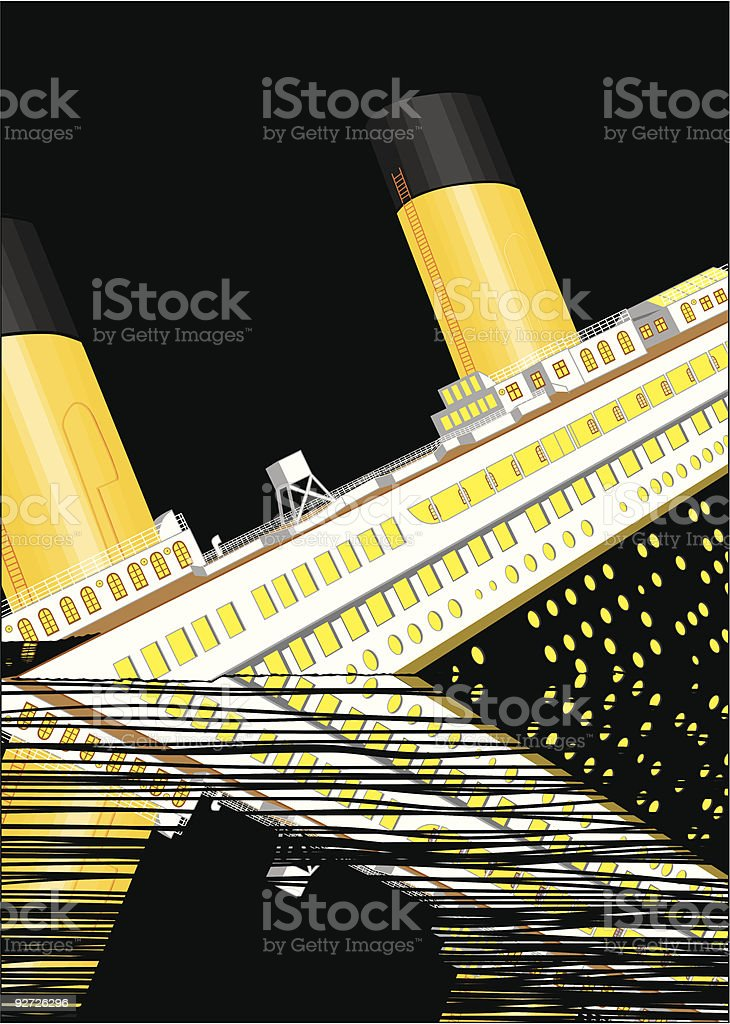 The Titanic sinking vector art illustration