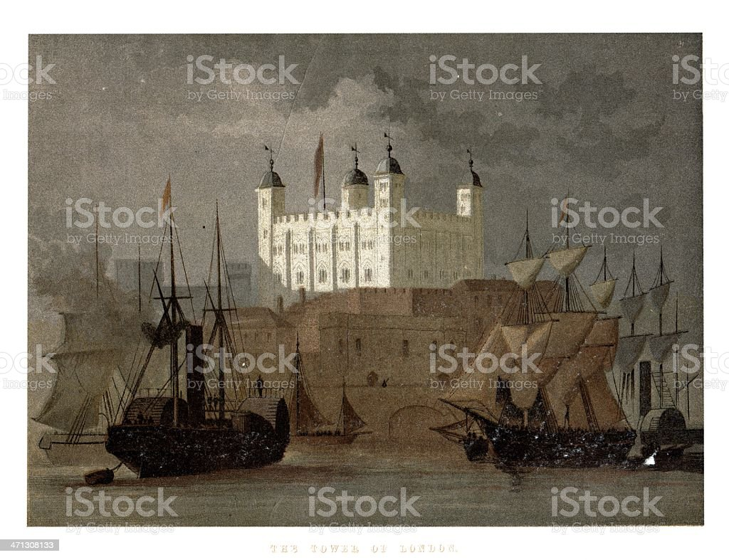 The Tower of  London England  from 1864 magazine vector art illustration
