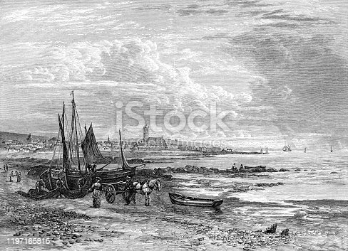 The town of Penzance in Cornwall, England, Uk. Vintage etching circa 19th century.