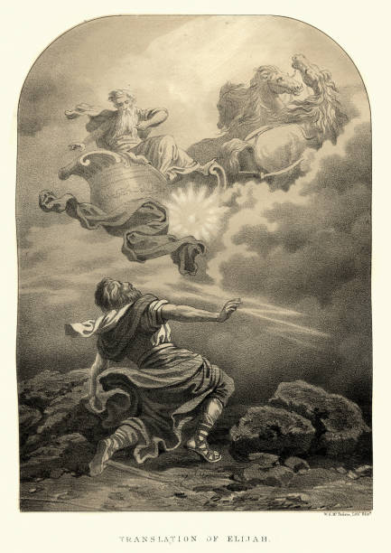 The translation of Elijah into heaven on Chariot of Fire vector art illustration
