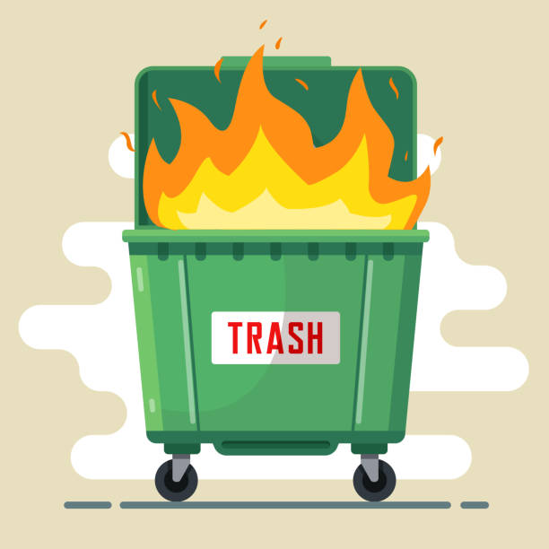 the trash can is burning. violation of the rules the trash can is burning. violation of the rules. harm to nature and people. bad ecology. flat illustration dumpster fire stock illustrations