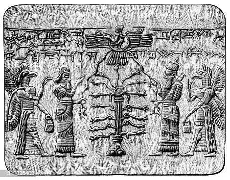 istock The Tree of Life with Assyrian King and with winged creature as guardian and fertilizer of the Tree — Symmetrically repeated. 1312335403