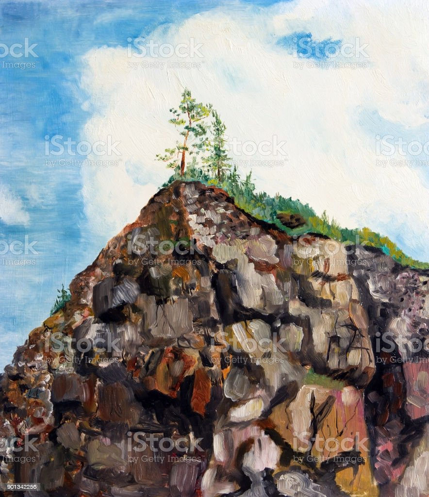 The trees on top of a large rock vector art illustration