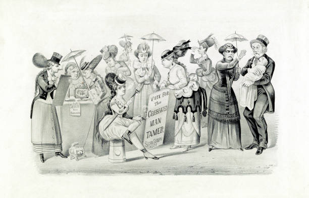 The Triumph of Women's Rights Black and white satirical commentary on the women's rights movement and the threat it appeared to pose to traditional gender roles. Print shows women assuming the roles of men, participating in politics and voting, and forcing men to mind the children. women's suffrage stock illustrations