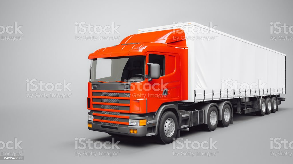 The truck wheels with safety shipping trail. vector art illustration
