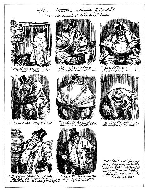 """""""the truth about ghosts"""" - punch's almanack, 1882 - part of a series stock illustrations, clip art, cartoons, & icons"""