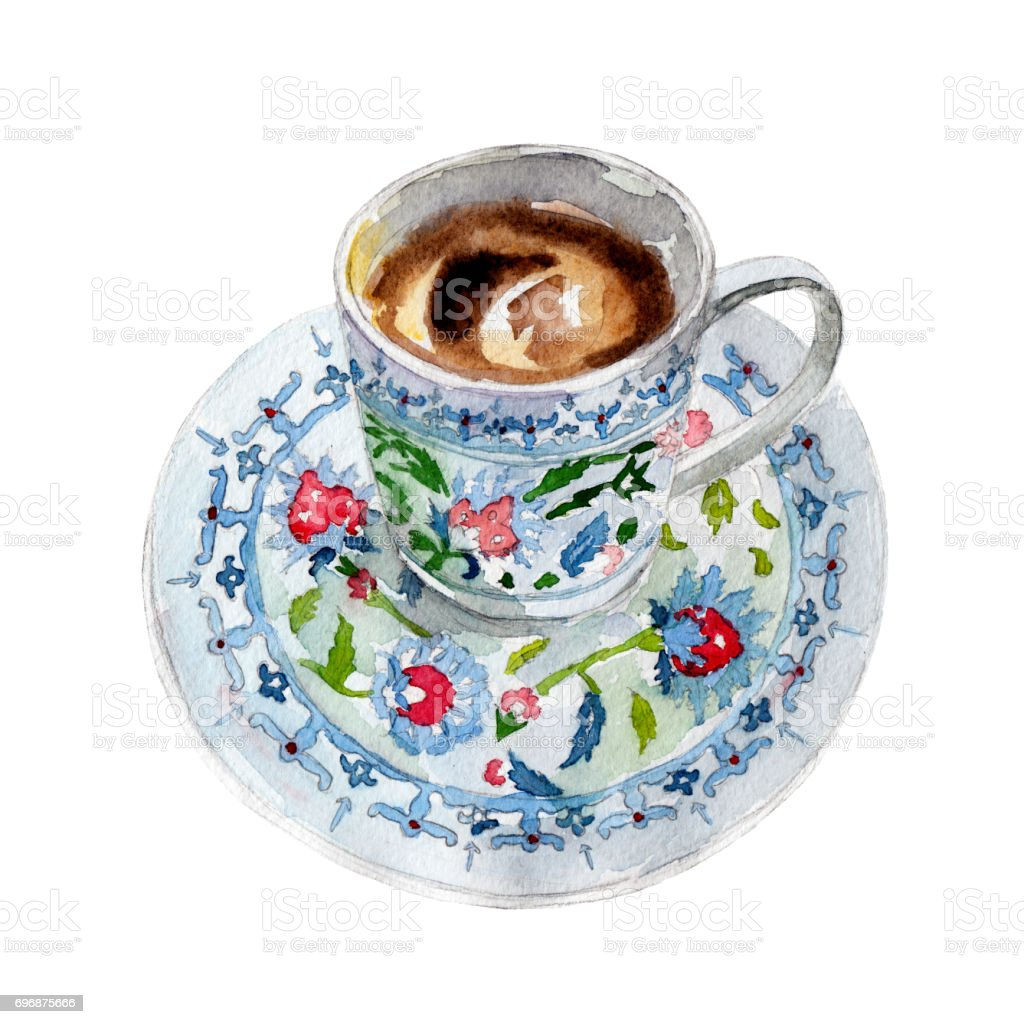 The turkish coffee cup isolated on white background watercolor the turkish coffee cup isolated on white background watercolor illustration in hand drawn style buycottarizona Image collections