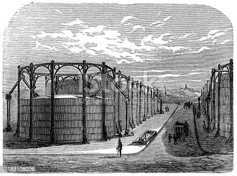Illustration of a The twelve gasometers in the gas station at La Villette in Paris