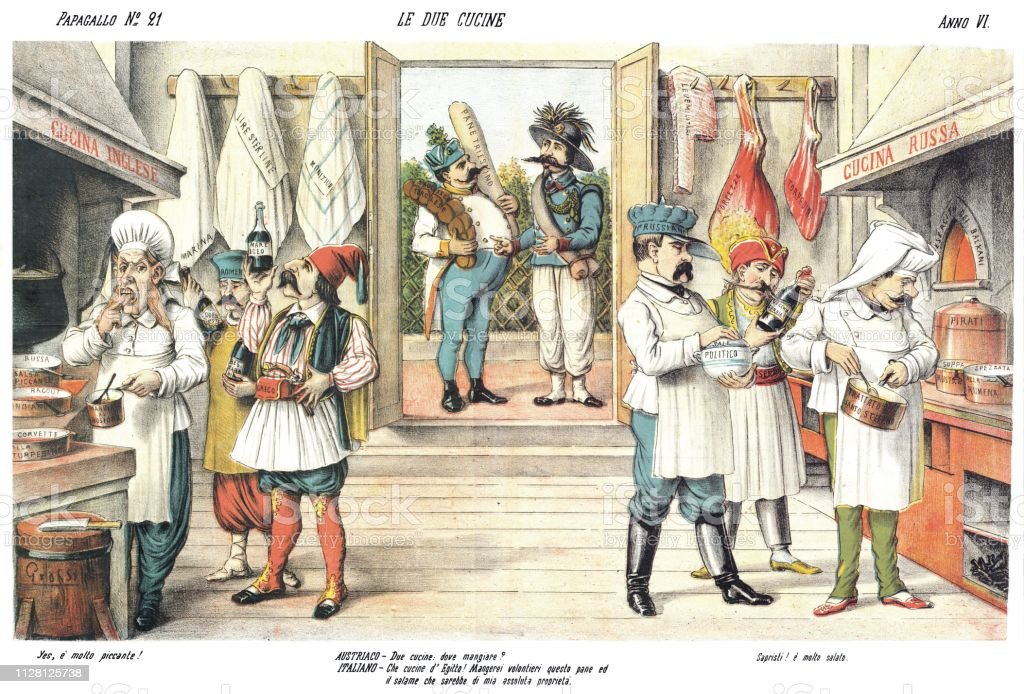 2 つのキッチン1878 年の風刺漫...