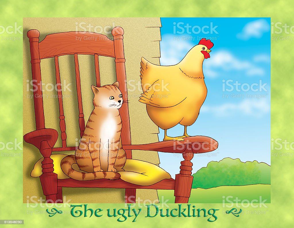 the ugly duckling 14 the cat and the hen stock vector art