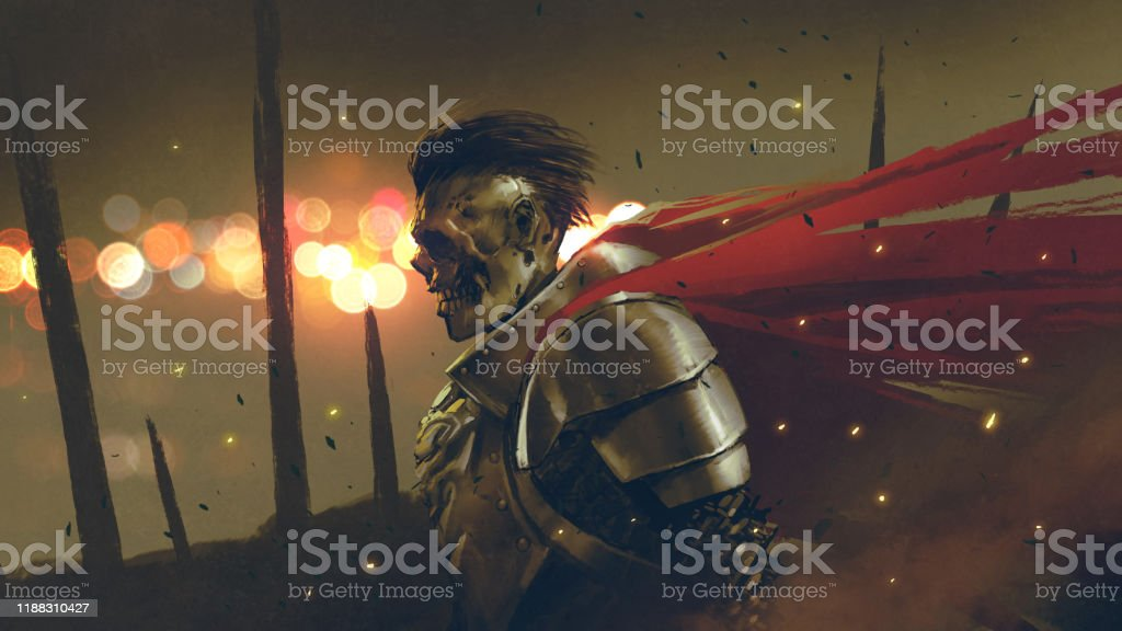 the undead knight prepares the war the undead knight in medieval armors prepares for battle, digital art style, illustration painting Armored Clothing stock illustration