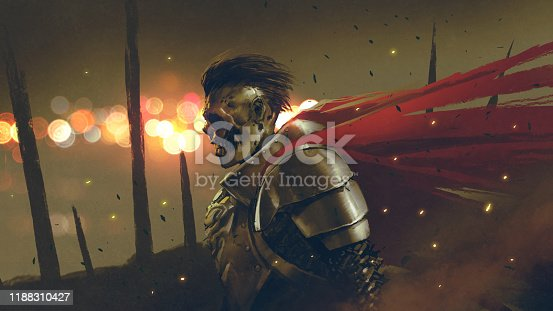 the undead knight in medieval armors prepares for battle, digital art style, illustration painting